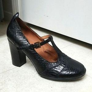 FRYE T-strap Mary Jane leather adrienne snakeskin